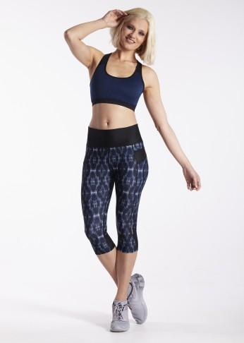 lasculpte Track Pants Shaping Printed Crop Tight - Blue Print