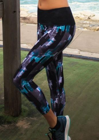 Shaping Printed Full Length Tight - Mint Print - Be Activewear