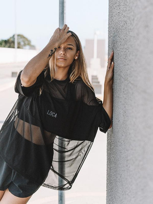 Black Mesh Tee - Be Activewear