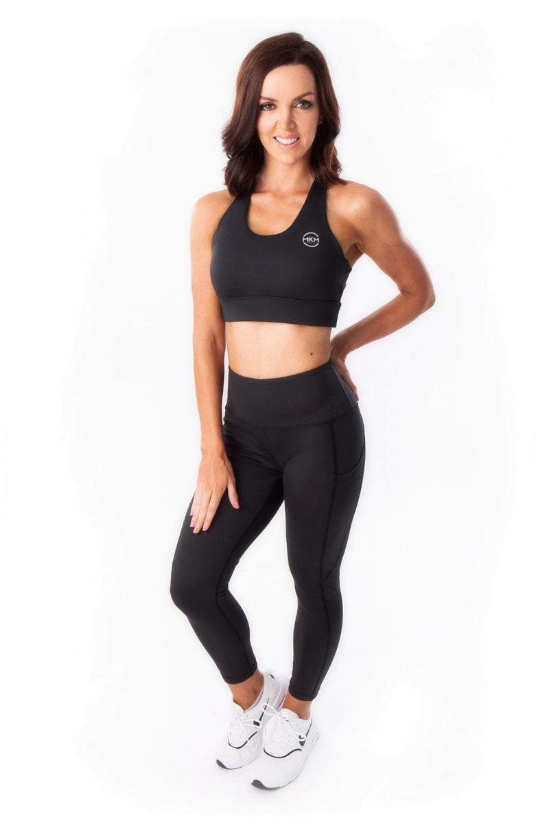 MKM LUXE HIGH RISE 7/8 POCKET LEGGING - BLACK (XS ONLY) - Be Activewear