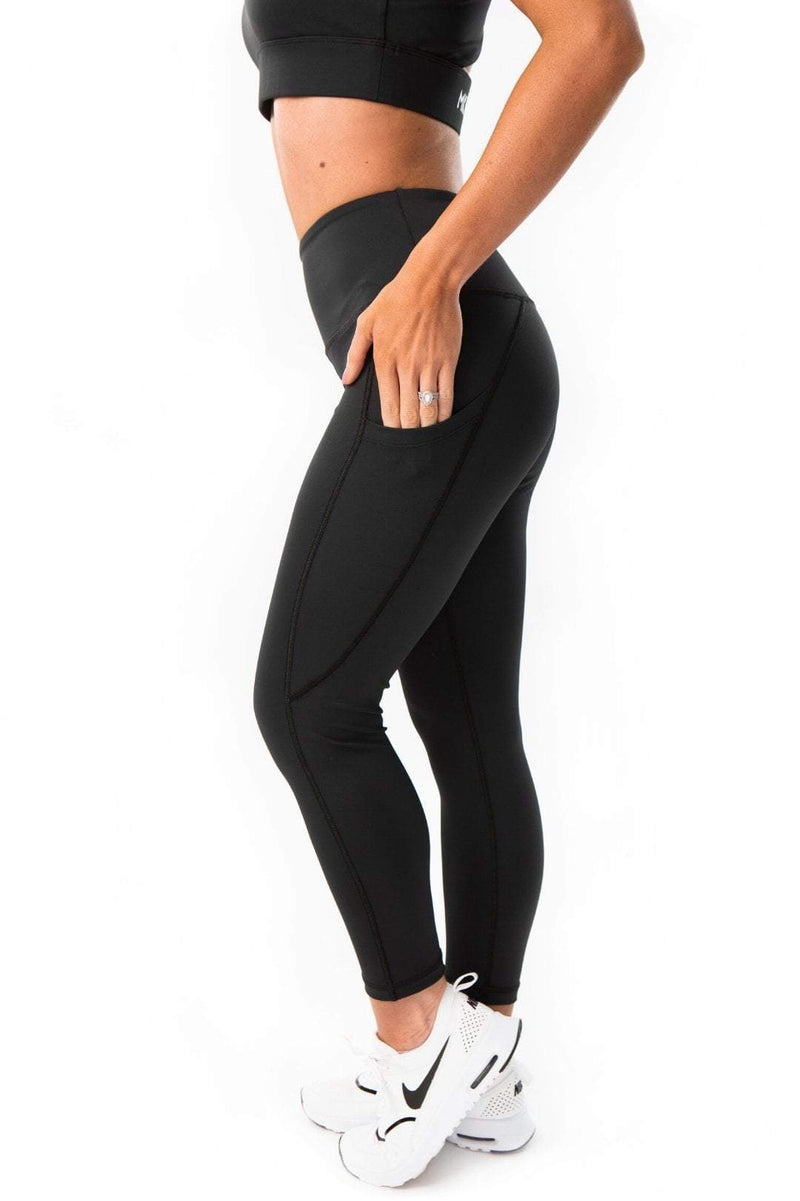 MKM LUXE HIGH RISE 7/8 POCKET LEGGING - BLACK - Be Activewear