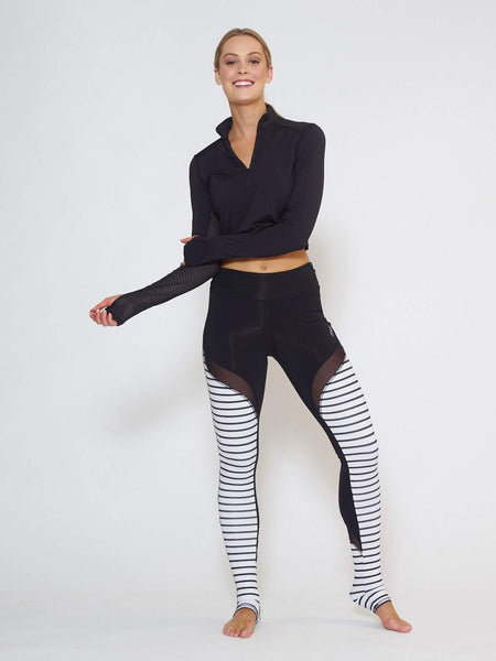 BREEZE Long-Sleeve Collared Crop - Black - Be Activewear