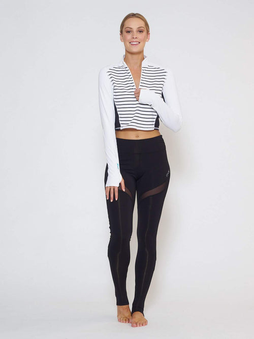 BREEZE Long-Sleeve Collared Crop - Stripe - Be Activewear