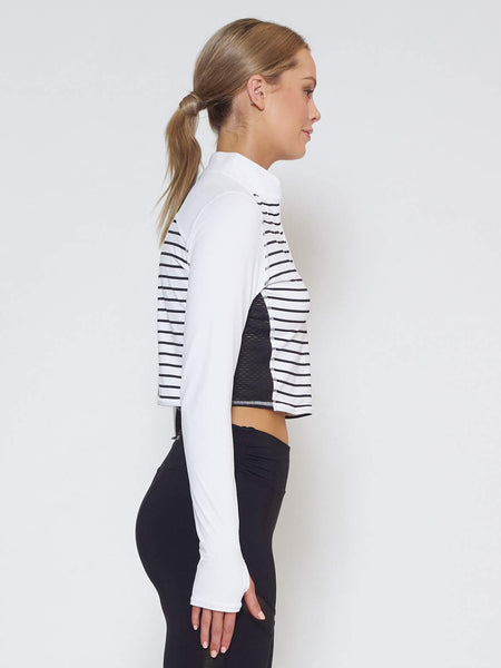 MUV Sportswear Long Sleeve Top BREEZE Long-Sleeve Collared Crop - Stripe