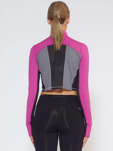 BREEZE Long-Sleeve Collared Crop - Wild Purple - Be Activewear