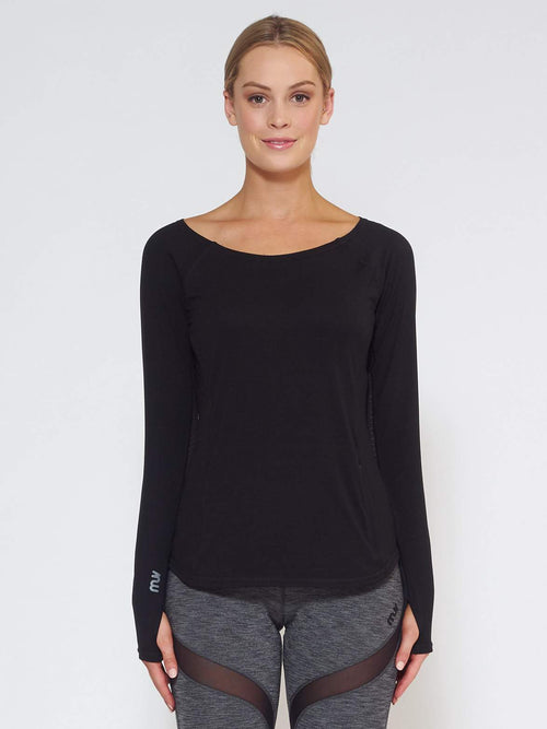DRIFT Long-Sleeve Top - Black - Be Activewear