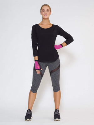 MUV Sportswear Long Sleeve Top IGNITE Knee-Length Legging - Steel