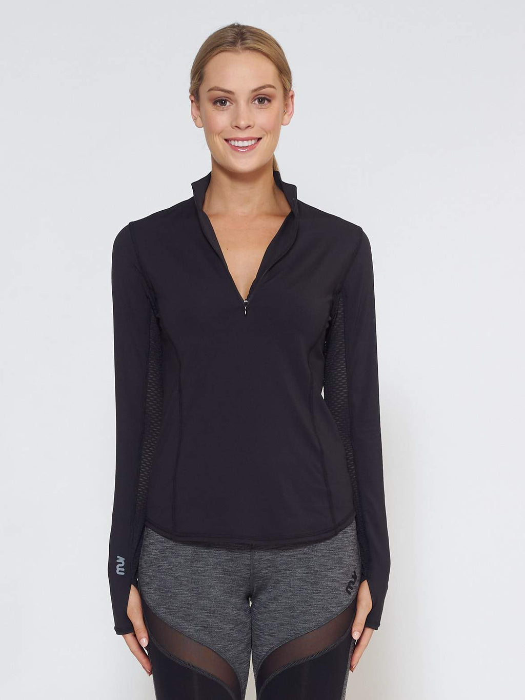 MUV Sportswear Long Sleeve Top LIQUID Long-Sleeve Collared Shirt - Black