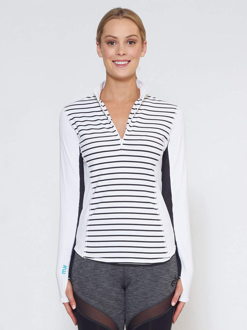 LIQUID Long-Sleeve Collared Shirt - Stripe - Be Activewear
