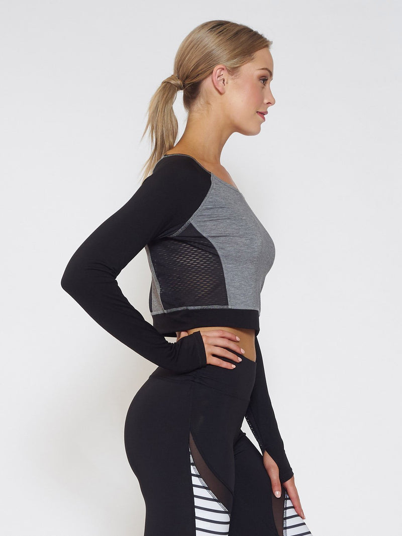 MUV Sportswear Long Sleeve Top VENT Long-Sleeve Crop - Black