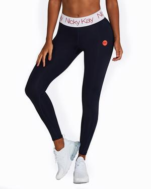 FitGlam Compression Tights: Navy with White Waistband + Red Logo - Be Activewear
