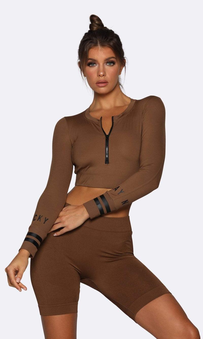 Seamless  Long Sleeve Crop - Brown - Be Activewear