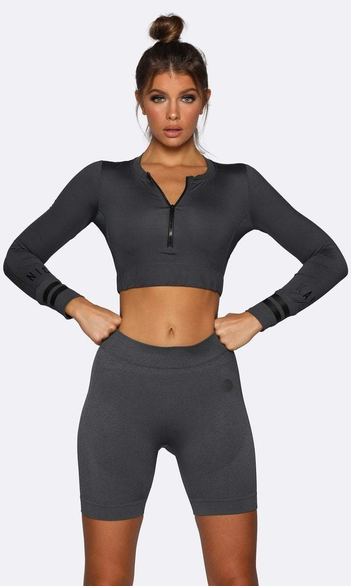 Seamless Long Sleeve Crop - Charcoal - Be Activewear