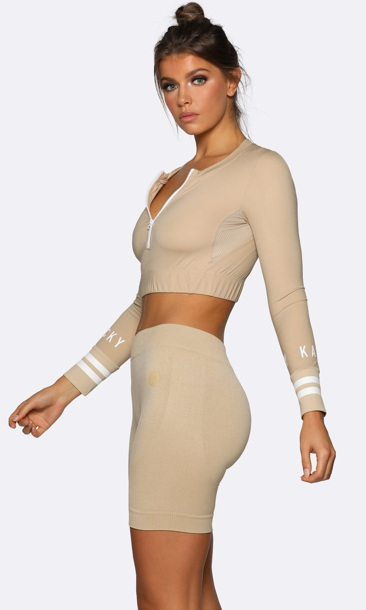 Seamless Long Sleeve Crop - Cream - Be Activewear