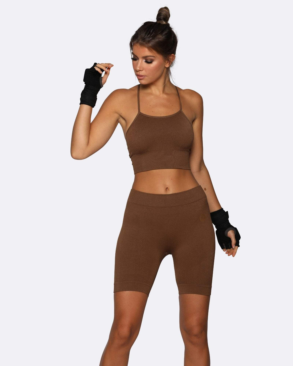 Seamless Bike Shorts - Brown - Be Activewear