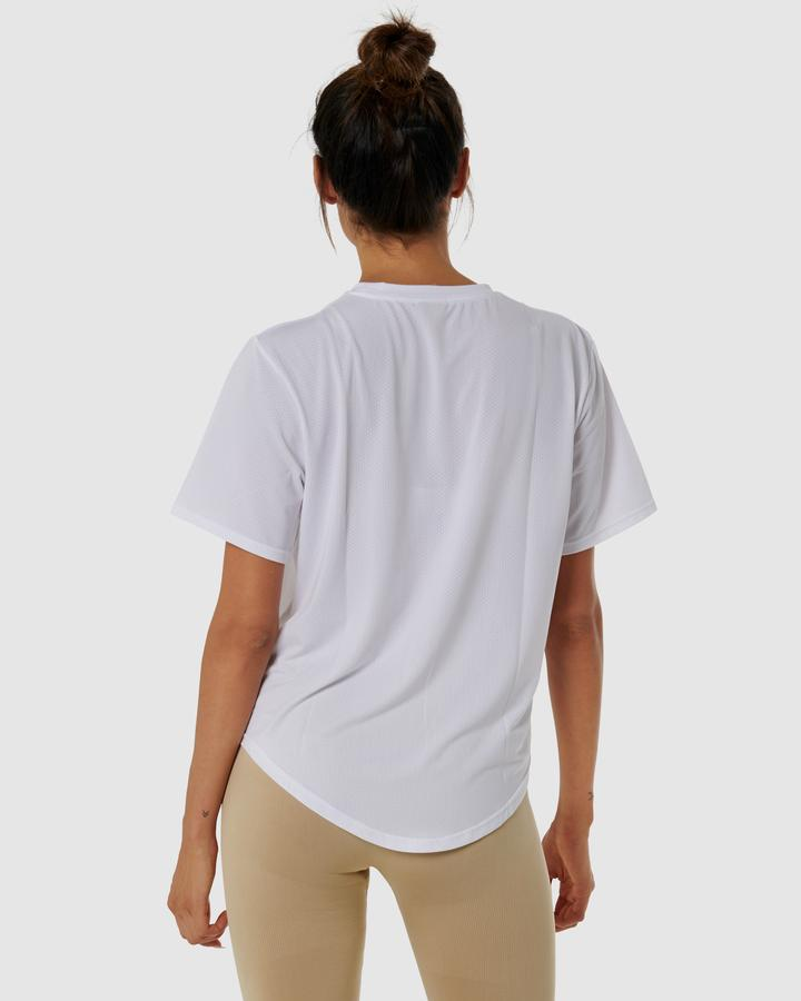 QuickDry Logo Tee - White - Be Activewear