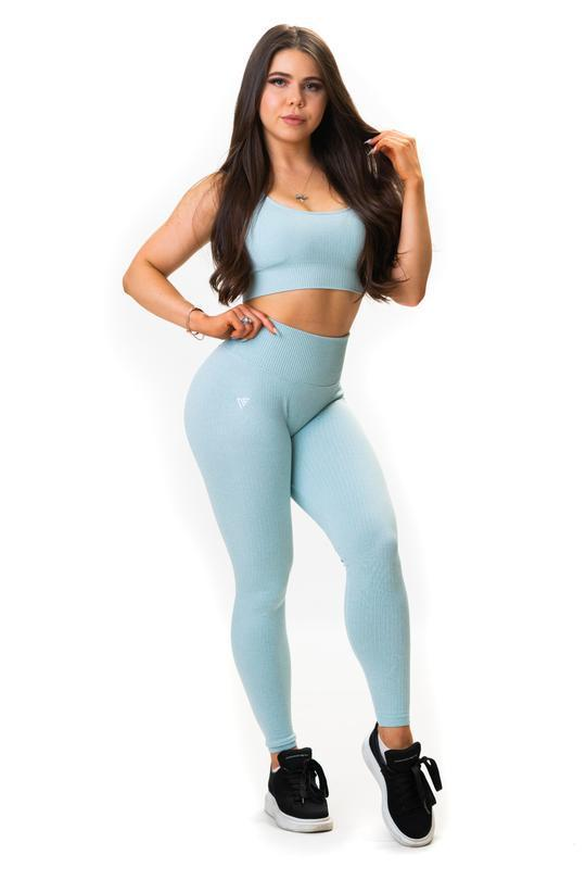 NU RIBBED-AIR LEGGINGS - BABY AQUA - Be Activewear