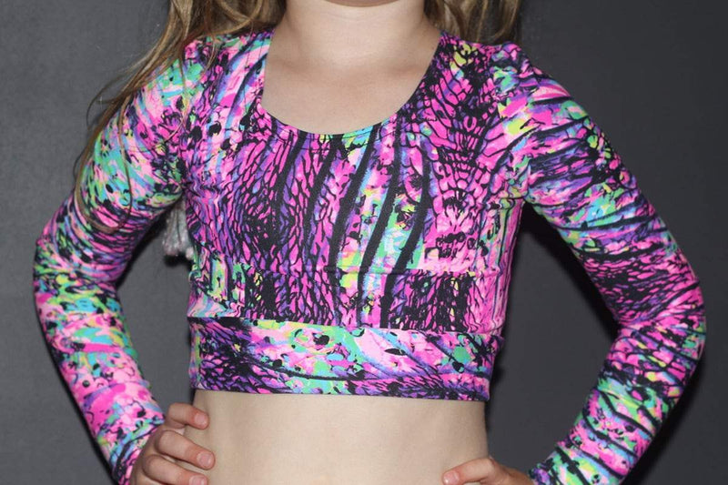 Pink Mystic Long Sleeve Crop Top Youth Girls - Be Activewear