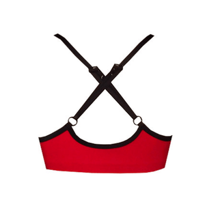 Cherry Red Strappy V Neck Crop Top - Be Activewear