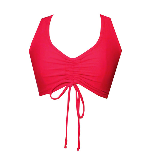 Red Scrunch front Sports Crop Top BK138R - Be Activewear