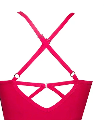 Red Strappy Sports Crop Top BK133 - Be Activewear