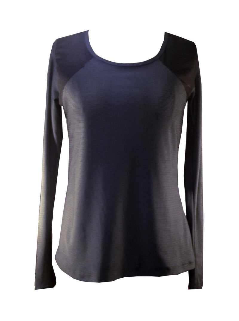 Long Sleeve Drapy Back Top - Metal Grey - Be Activewear