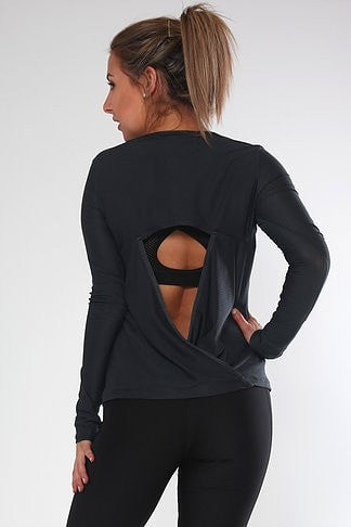 Long Sleave Mesh Top Wrap Draping at the back - Be Activewear
