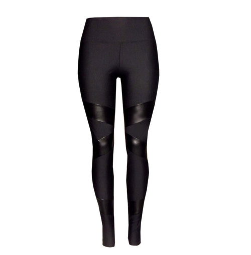 Italian Lycra Gym Leggings featuring pleather panels- Australian Made - Be Activewear