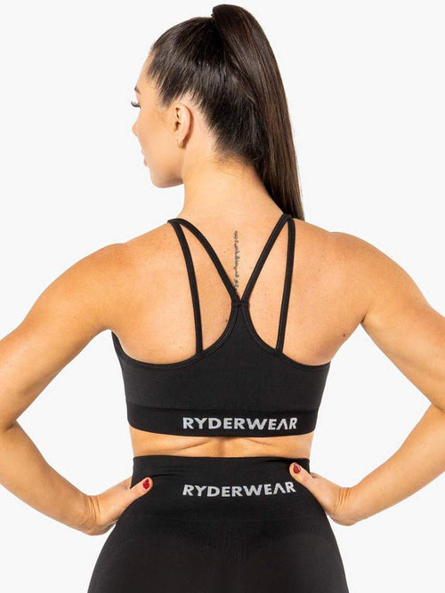 ELECTRA SEAMLESS SPORTS BRA - BLACK - Be Activewear