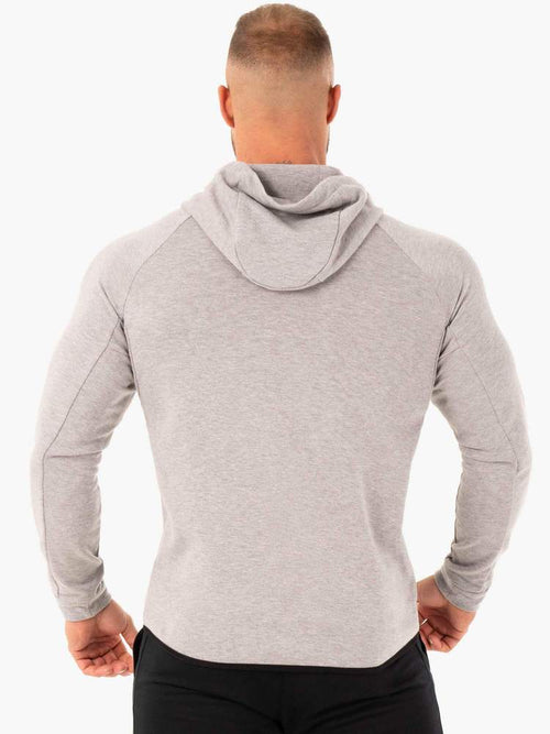 ATHLETIC ZIP UP HOODIE JACKET- GREY MARL