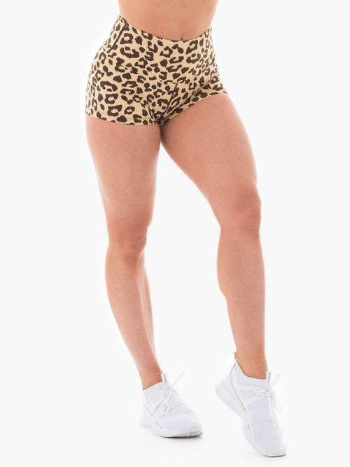 ANIMAL SCRUNCH BUM SHORTS TAN LEOPARD - Be Activewear
