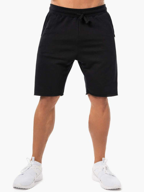 BLOCK FLEECE TRACK SHORTS - BLACK - Be Activewear