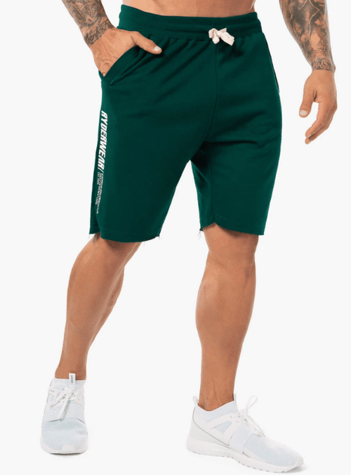 BLOCK FLEECE TRACK SHORTS - FOREST GREEN - Be Activewear