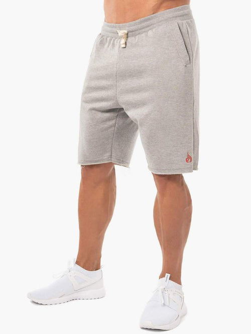 BLOCK FLEECE TRACK SHORTS - GREY MARL - Be Activewear