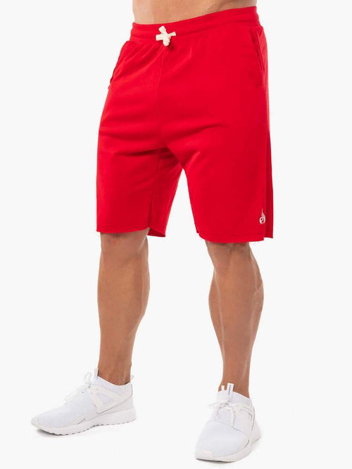 BLOCK FLEECE TRACK SHORTS - RED - Be Activewear