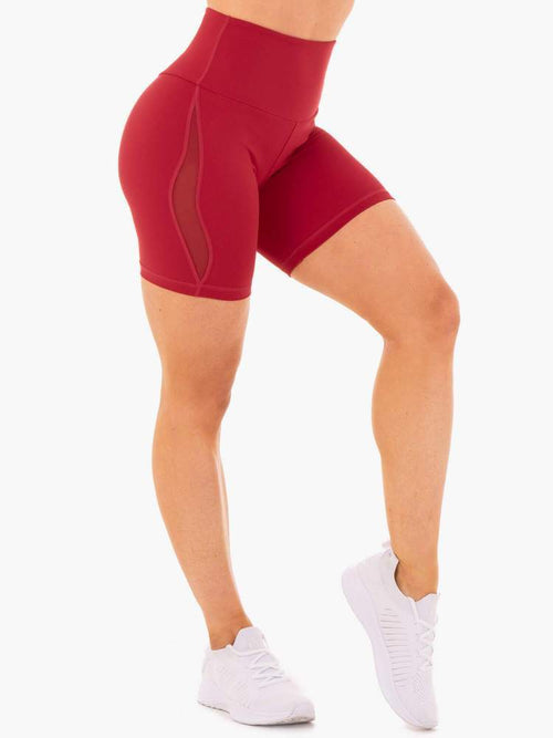 Ryderwear Shorts HYPE HIGH WAISTED MESH SHORTS - RED