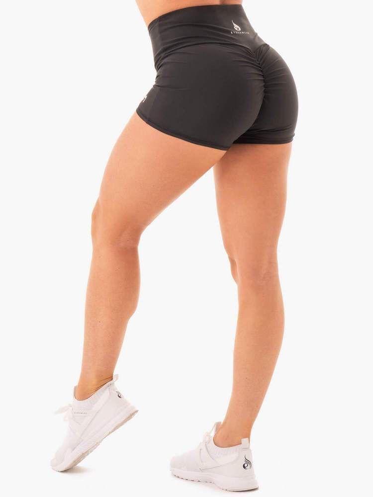 NEM X RW SCRUNCH BUM SHORTS BLACK - Be Activewear