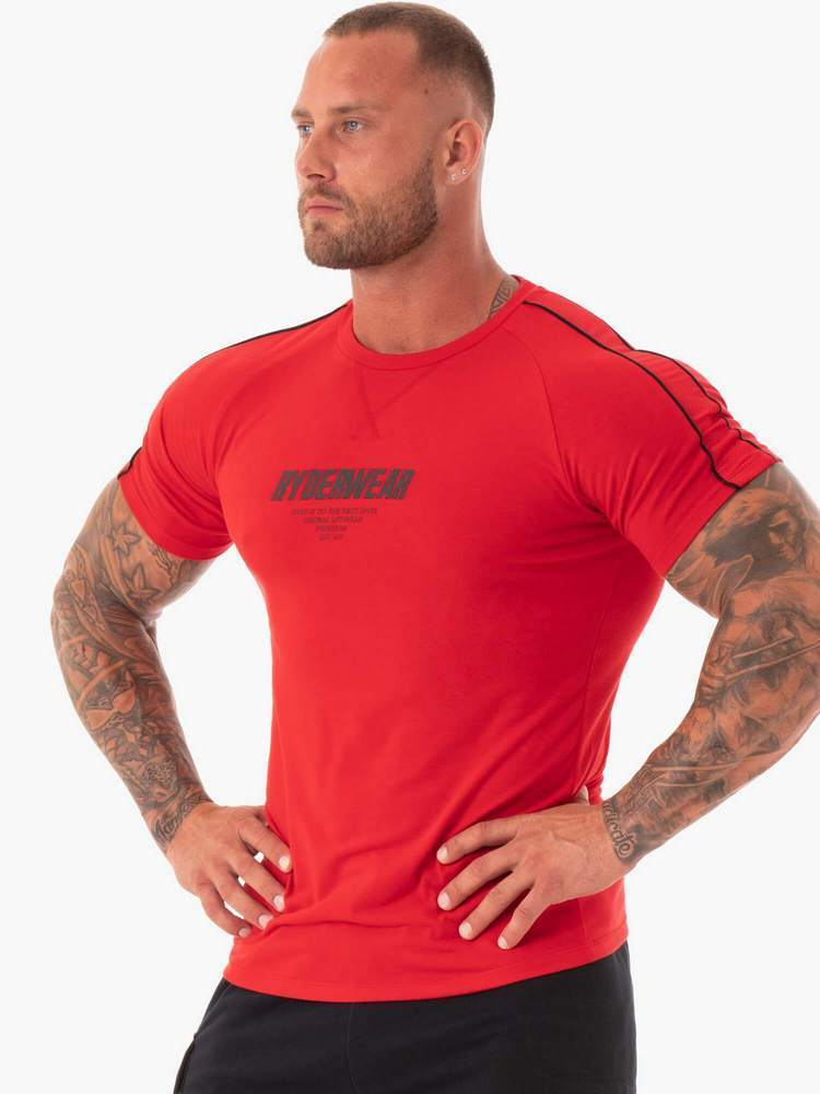 POWER MESH T-SHIRT RED - Be Activewear