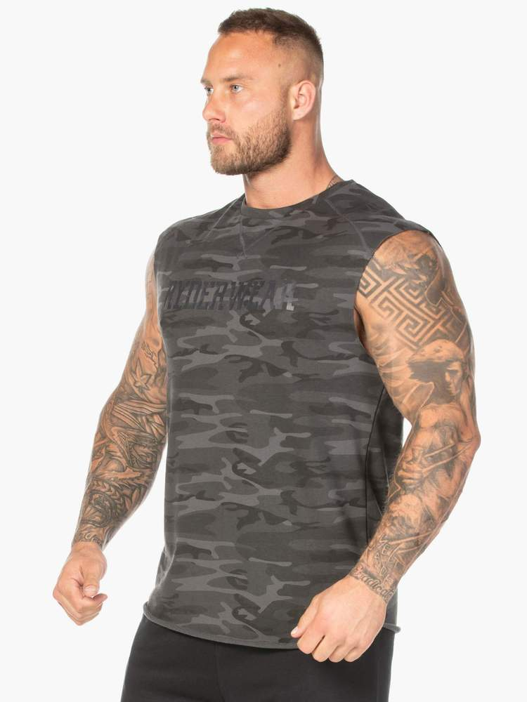 Ryderwear Tanks CAMO FLEECE TANK - BLACK CAMO