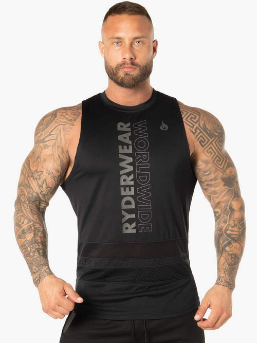 EVO MESH BALLER TANK - BLACK - Be Activewear