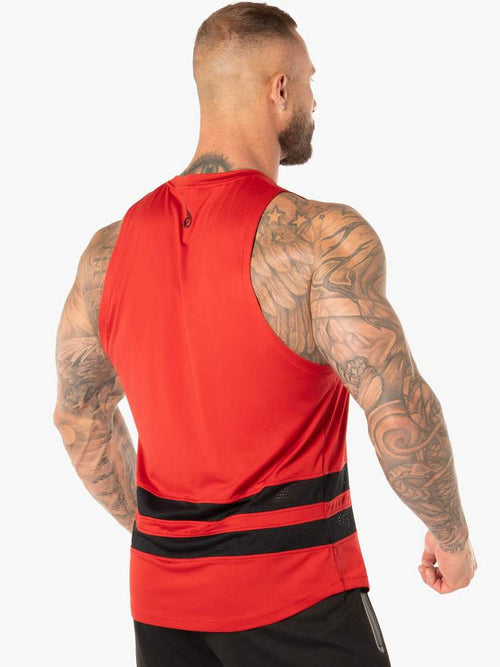 EVO MESH BALLER TANK - RED - Be Activewear