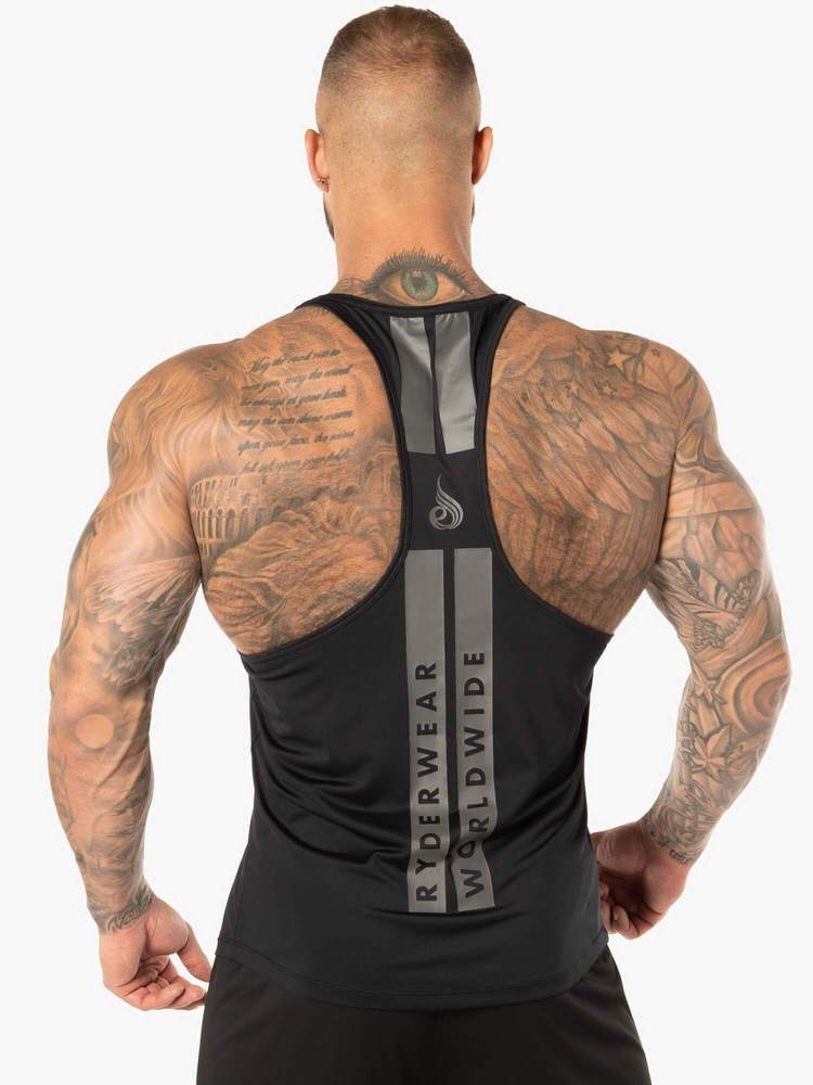 EVO T-BACK STRINGER TANK - BLACK - Be Activewear