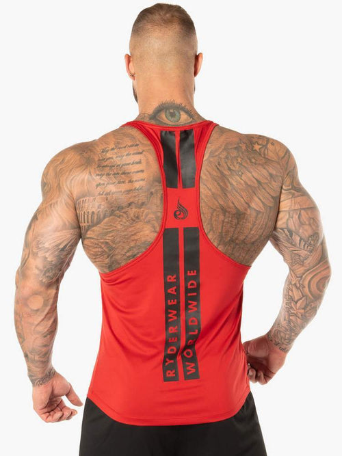 EVO T-BACK STRINGER TANK - RED - Be Activewear