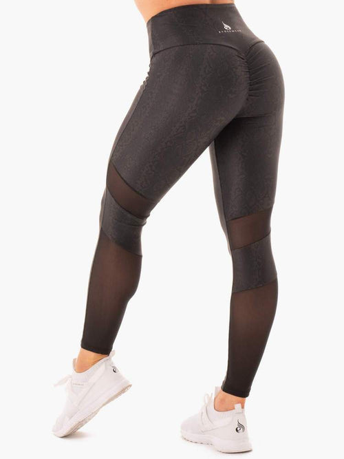 NEM X RW SCRUNCH BUM LEGGINGS BLACK SNAKE - Be Activewear