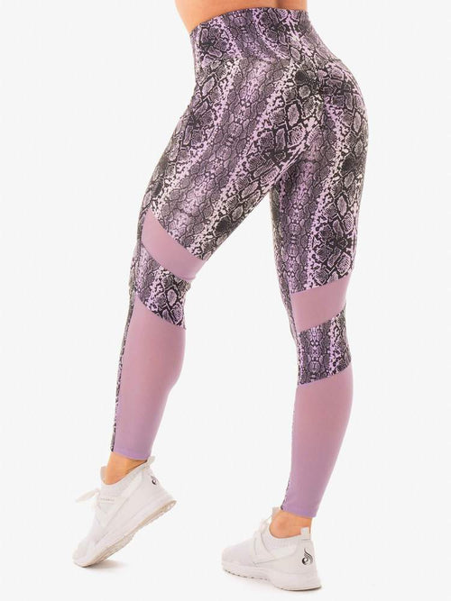 NEM X RW SCRUNCH BUM LEGGINGS PURPLE SNAKE - Be Activewear