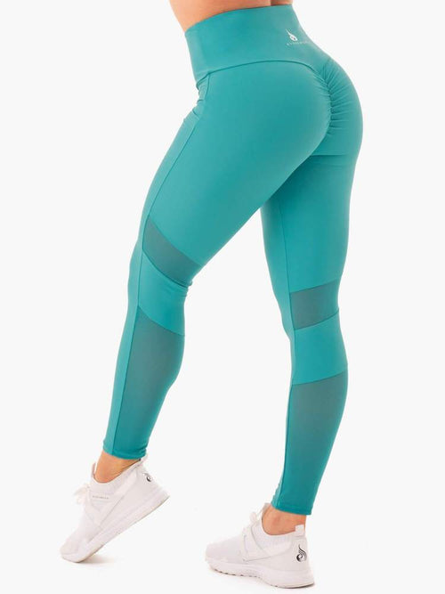 NEM X RW SCRUNCH BUM LEGGINGS TEAL - Be Activewear