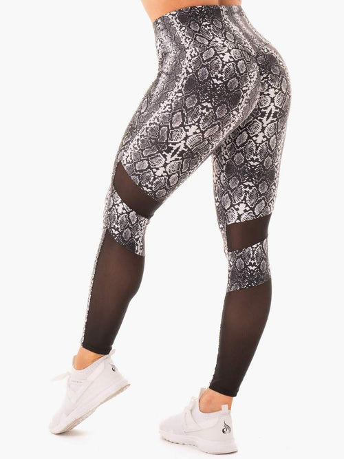 NEM X RW SCRUNCH BUM LEGGINGS WHITE SNAKE - Be Activewear