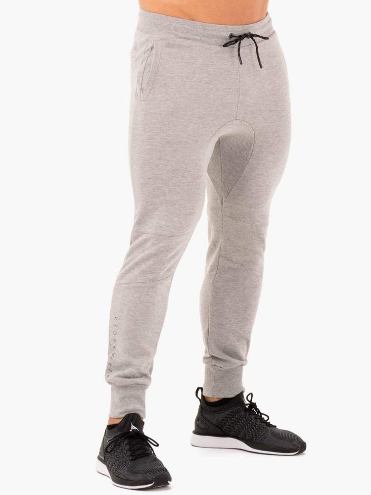 ATHLETIC FLEECE TRACK PANTS- GREY MARL
