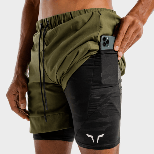 Squat Wolf Shorts LIMITLESS 2-IN-1 SHORTS – KHAKI AND BLACK