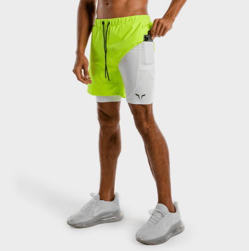 Squat Wolf Shorts LIMITLESS 2-IN-1 SHORTS – NEON AND WHITE